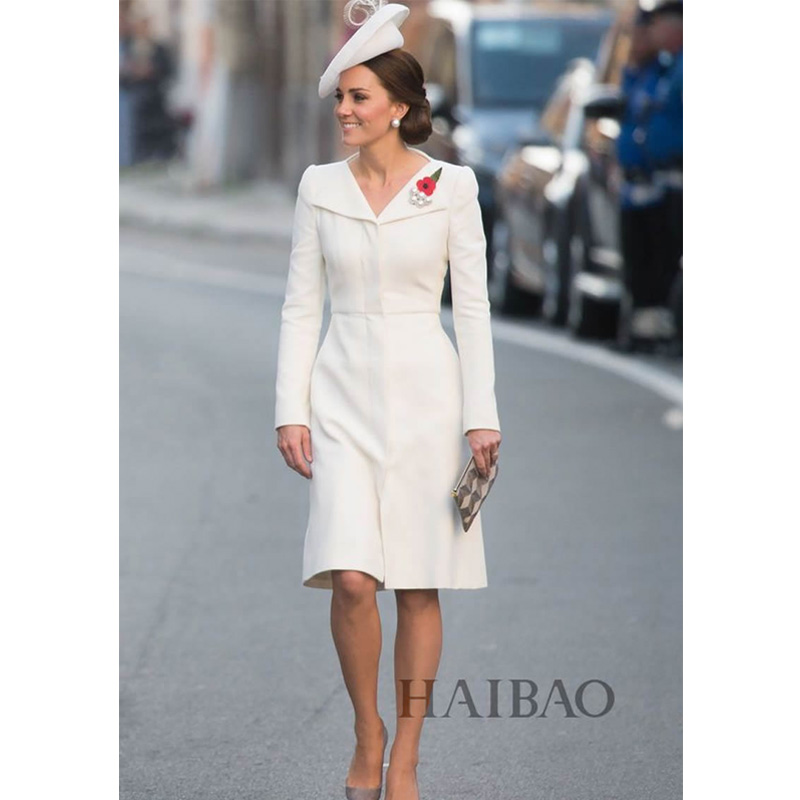2018 Sping Autumn Kate Middleton Dress Women Long Sleeve Simple White Elegant A Line Knee Length Dresses In From S Clothing On Aliexpress