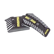 2 PCS 1 Set MOMO Style Aluminium Brake Pedal Foot Pedal Non Slip Black Silver Sport