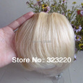 "Venta al por mayor 8 "" a la moda Girls Clips on frente Neat Bang Fringe extensiones de cabello humano 20 g Light Blonde #613"