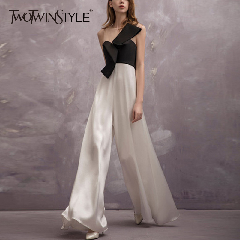 TWOTWINSTYLE Bowknot Jumpsuits For Women Sleeveless Patchwork Irregular Maxi Wide Leg Pants 2019 Summer Large Size