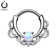 1Pc Opal Nose Ring Hoop Clicker Septum Cartilage Earring Lip Captive Bead Ring 16G Titanium Shaft