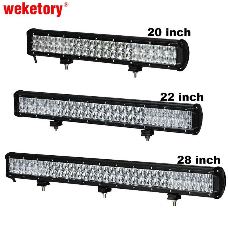 Weketory 5D 20 22 28 pouce 210 W 240 W 300 W LED Travail Lumière Bar pour Tracteur Bateau OffRoad 4WD 4x4 Camion SUV ATV Combo Faisceau