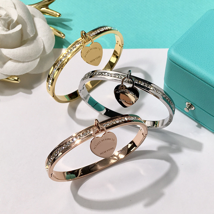 Wholesale High Quality Brand 316L Stainless Steel Bracelet Silver/Rose Golden/Golden Bangle Crystal Setting Love Bangle Bracelet