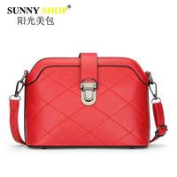 Genuine Leather Women Shoulder Messenger Bags Thread Handbags Fashion Hasp Zipper Clutch Red Shell Crossbody Bag