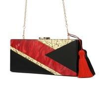 Black Red Gold Glitter Striped Geometric Acrylic Evening Purse Handbag Women Shoulder Travel Lady Party Beach Acrylic Box Clutch