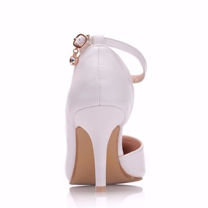 Image 3 - Crystal Queen Women White  Heels Sexy Wedding White Shoes Fetish 8cm High Heels Lady Stiletto Plus Size Pumps Sandals