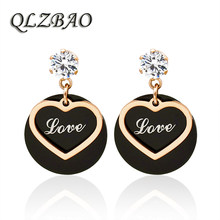 QLZBAO New Arrival 361L Stainless Steel Love Pendant Earring Romantic Fashion Crystal Wedding EarringFor Women Jewelry Wholesale(China)