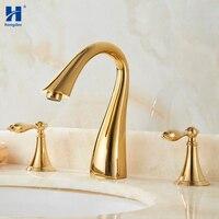 Hongdec Bathroom Brass Gold Deck Mounted 3 Holes tap 2 Handles basin Sink Faucet