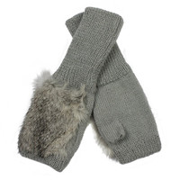 Holiday Sale New Arrival Lovely Rabbit fur Lady's Mittens, Hot Promotion Knitted Wool fingure Gloves 2996