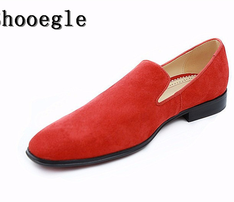 SHOOEGLE Brand Fashion Style Moccasins Suede Men Loafers High Quality Shoes Men Driving Flats Red Espadrilles Wedding Shoes zenvbnv high quality summer cow genuine leather men shoes soft loafers fashion brand men moccasins flats comfy driving shoes