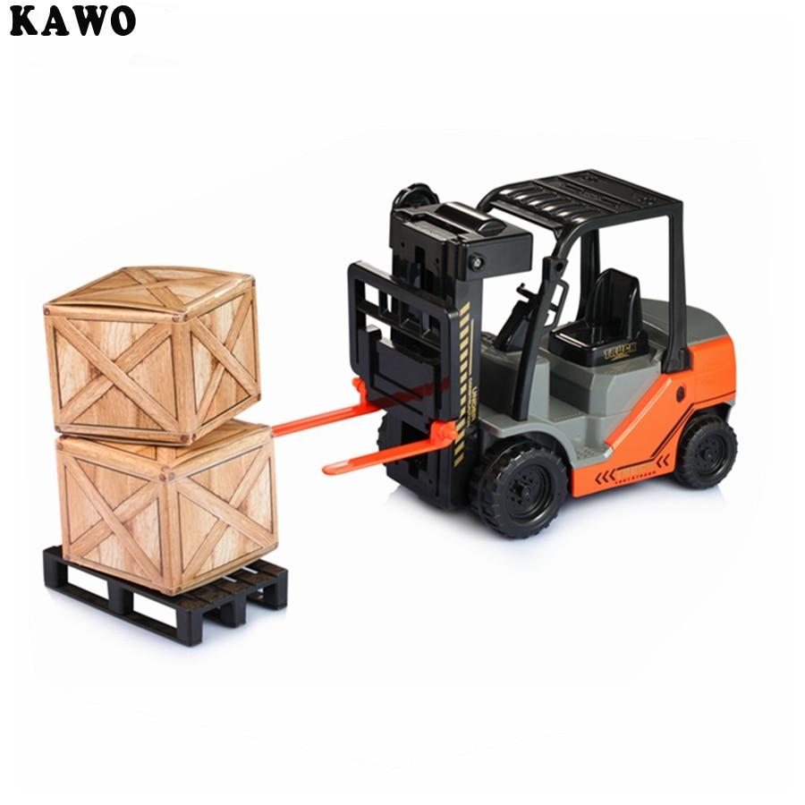KAWO 1:22 Schaal Vork Auto met Pallets Grote Speelgoed Truck Inertie van Verbranding Heftrucks Auto Model Speelgoed Met Originele Doos