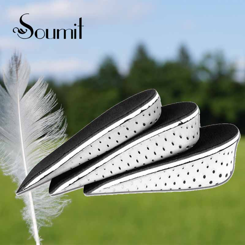 Soumit EVA Memory Foam Invisible Half Height Increase Insole for Men Women Taller Shoe Inserts Heel Cushion Pads Height Insoles high quality new 3 layer 7cm air bubble cushion shoe lift height increase heel insoles pair taller for men and women