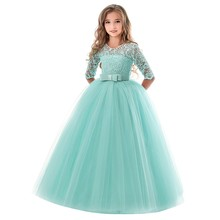 цены на kids dresses for girls summer Polyester Lace Bowknot Princess Wedding Performance Formal Tutu Dress Clothes F401  в интернет-магазинах