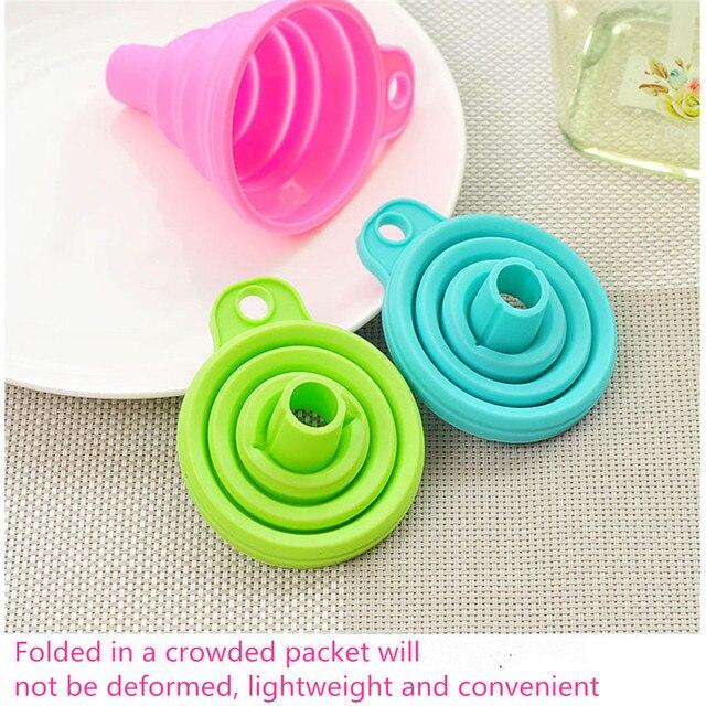 CHASANWAN1pcs Mini Silicone pliable entonnoir trémie Cuisine Cozinha outils de Cuisine Cuisine accessoires de Cuisine Gadgets de Cuisine 4