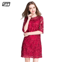 Fitaylor 2018 Plus Size 6xl Summer Dress Women Elegant Sexy Evening Party Dresses Fashion Embroidery Lace
