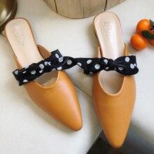 купить 2019 New Cut Bow-knot Flat Women Mules Shoes Women Slip On Low Heel Pointed Toe Summer Outdoor Ladies Slippers chaussures femme по цене 831.55 рублей