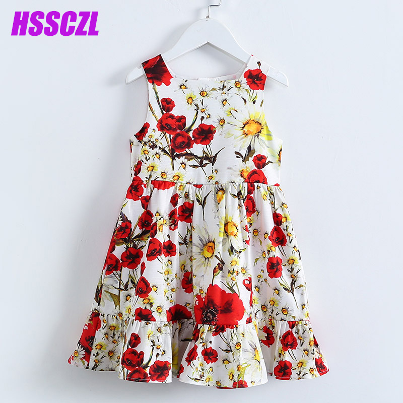 HSSCZL Girls Dress Summer 2017 Brand kids Girl Princess printed Party Dresses Sleeveless Floral Fille Costume Boutique clothing  hssczl girls dress summer 2017 brand kids print floral sleeveless toddler girl children dress flowers fille costume clothes