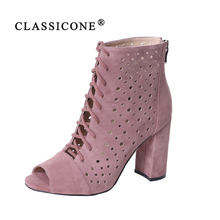 Купить с кэшбэком CLASSICONE 2019 Woman shoes women's ankle boots spring autumn genuine leather suede pumps brand fashion luxury style black Pink