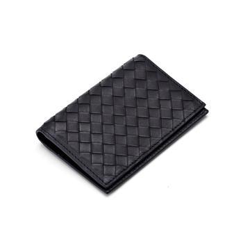 2018 new cowhide leather card holder woven card bag slim short wallet business card clip bank card bag
