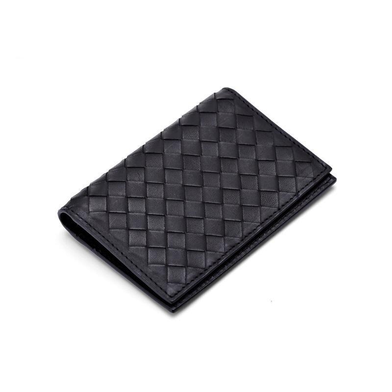 2018 nouvelle peau de vache porte-cartes en cuir tissé carte sac mince court portefeuille carte de visite clip carte bancaire sac