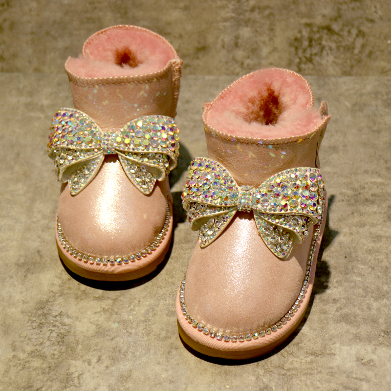 free shipping rhinestone Pearl Baby Girl kids shoes handmade Bling First Walkers bead soft Child 100% wool winter snow boots