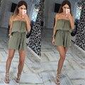 2016 mulheres Verão Macacões lazer sexy strapless peito envolto pedaço calções macacão Moda Mulheres Playsuits macacão Sólida