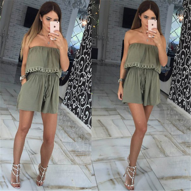 2018 Summer women Jumpsuits leisure sexy strapless chest wrapped piece shorts Fashion rompers Women jumpsuit Solid Playsuits