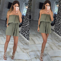 2016 New Summer Women Jumpsuits Leisure Sexy Strapless Chest Wrapped Piece Shorts Rompers Women Jumpsuit Solid