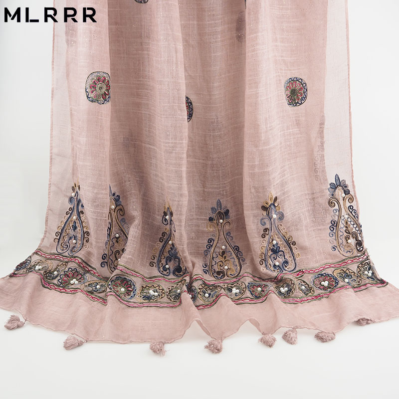 MLRRR new fashion delicate light pink embroidery Chinese national wind gold powder and pearl long scarf women's scarf(China)