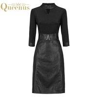 Queenus Women Dress 2017 Autumn Winter Work Dress Stand Collar PU Patchwork Knee Length Office Lady