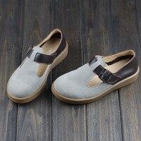 Woman Brand Flat Shoes Japan Style Slip On Vintage Mori Girl Shoes Full Grain Genuine Leather