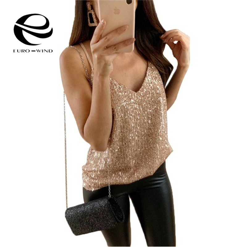 Plus Size 5XL 2019 Summer Top Women Tops Sexy Sleeveless V-neck Solid Sequined Club Blouses Female Casual Loose Camisas Mujer