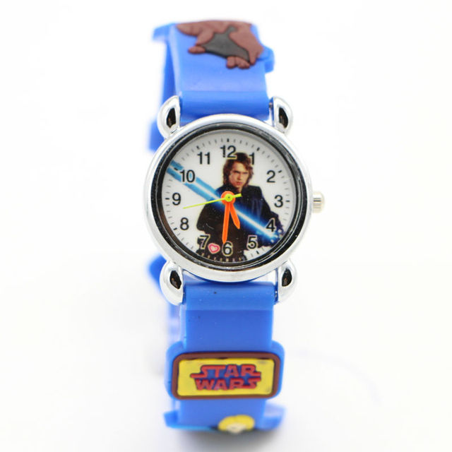 1pcs new fashion star wars 3D cartoons Watches Children Kids Boys gift Watch Cas