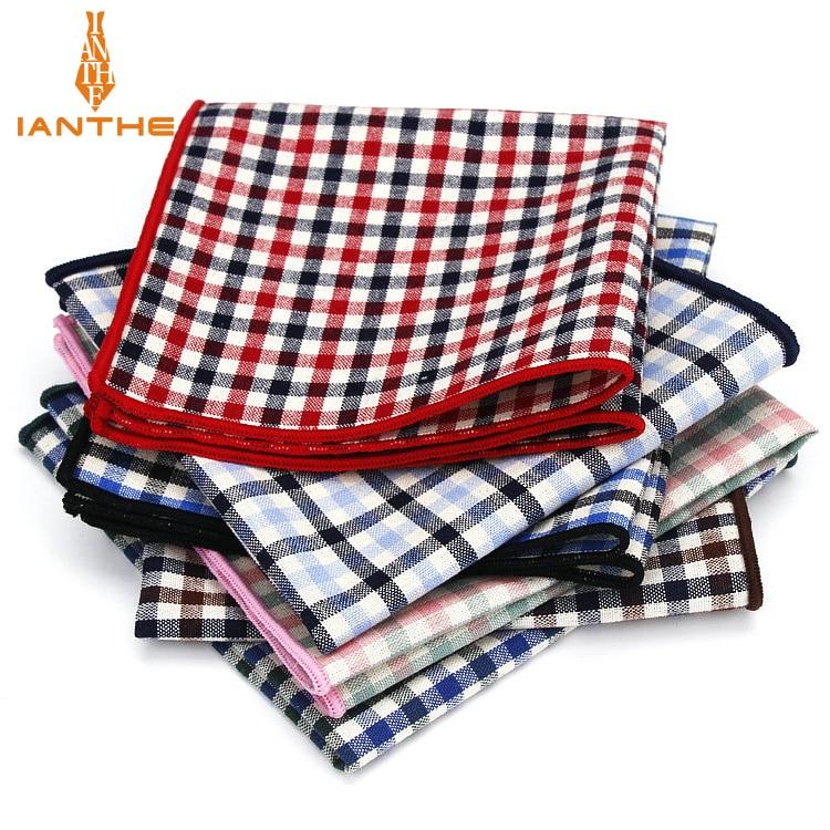 Vintage 100% Cotton Classic Suits Pocket Square 25cm*25cm Men's Handkerchiefs Plaid Check Fashion Chest Towel Hanky Hankies Gift