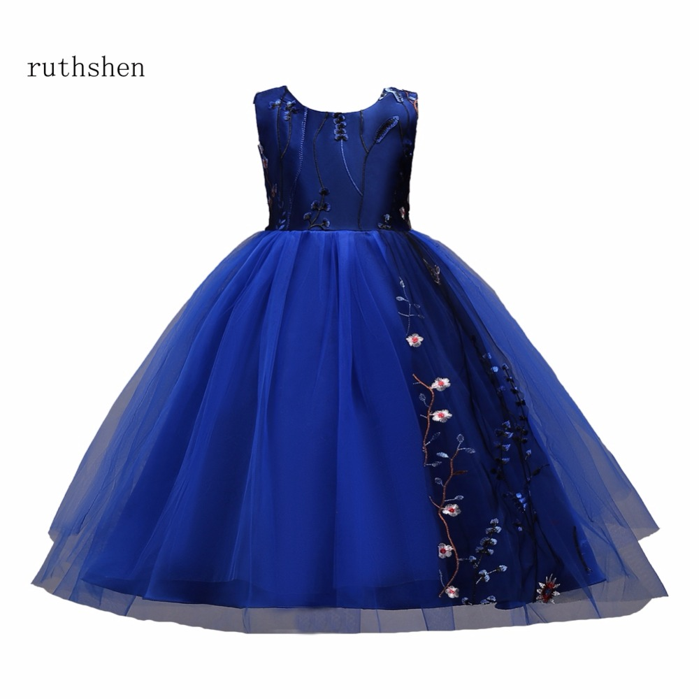 ruthshen In Stock Princess Baby   Flower     Girls     Dresses   For Weddings With Appliques Along Side For Kids Special Occasions 2018