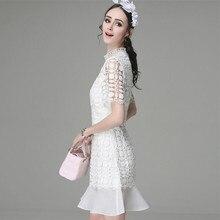 Love Summer Mini Dress Woman Blue White Lace Dresses