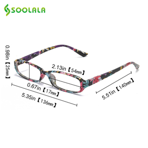 Image 5 - SOOLALA 4pcs Womens Reading Glasses Spring Hinge Rectangular Printed Reading Glasses w/ Matching Pouch +1.0 1.5 1.75 2.25 to 4.0