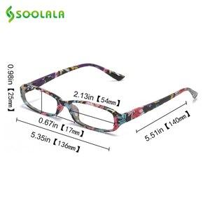 Image 5 - SOOLALA lunettes de lecture rectangulaires, imprimées, pour femmes, 4 pièces, avec pochette assortie + 1.0 1.5 1.75 2.25 à 4.0