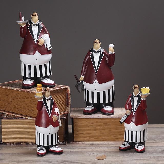 Bakery Home Decor Resin Chef Ornament Collection Crafts Figurine Miniature Waiter Artesanato
