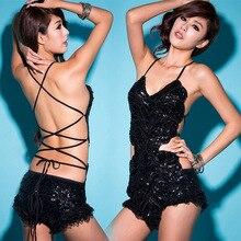 Sexy Female Backless Sequin Bodysuit Slim Bodysuit Jumpsuit Singer Dancer Star Show For Nightclub Dance Costume