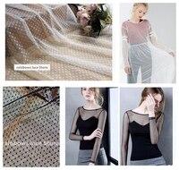 1 yards Blanc Noir Élastique Maille Tissu, Spot Dot Net Tissu, Robe, Mariage toile de fond, vêtement basant chemise tissu textiles