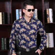 2016 Autumn Men's Top Quality Cotton Floral Printed Business Shirts Formal Long Sleeve Casual Dress Shirt Fashion Male Clothing