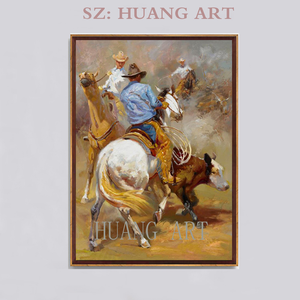 America West Cowboy horse racing oil painting 3d Animals and people combination oil painting villa decorates porch corridor