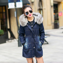 2016 Women Winter Basic jeans Jackets Female Parka With Faux Fur Collar Fleece thicken Jeans Denim Outerwear Coats 101605