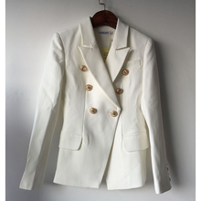 HIGH QUALITY  Runway Style Women's Gold Buttons Double Breasted Blazer Outerwear size S-XXL