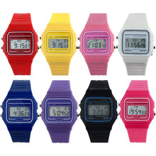 Digital watch Clock Brand De Luxe Analog Sport  New Silicone Rubber Strap Retro Vintage Digital Watch Boys Girls Mens