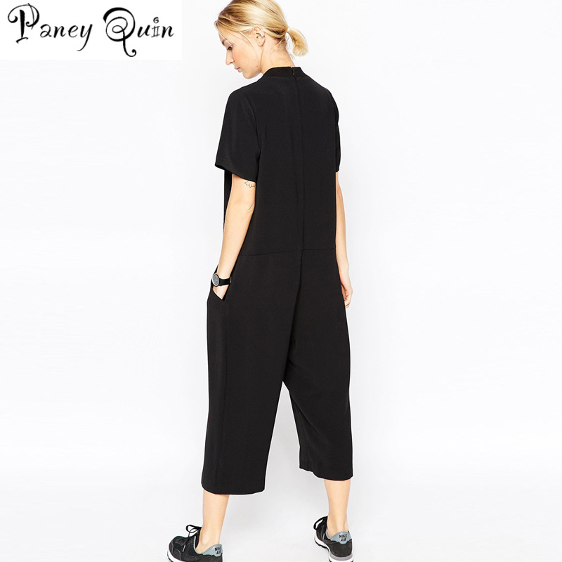 6cc2fac582d 2019 summer black rompers womens jumpsuit Elegant side pocket loose fitting  combinaison femme Romper overalls jumpsuit for women-in Jumpsuits from  Women s ...
