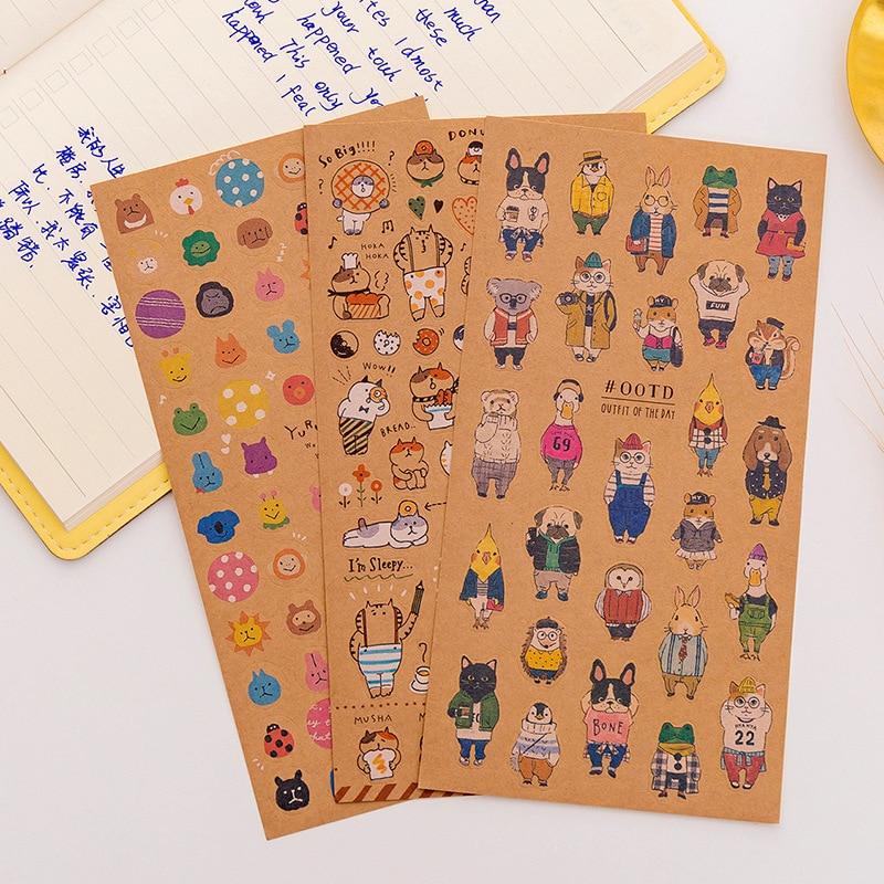 1PCS Japanese Kraft Paper Cute Cat Sticker Diary Decorate PVC Transparent Scrapbooking Stationery Stickers Supplies