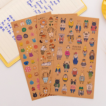 1PCS Japanese Kraft Paper Cute Cat Sticker Diary Decorate PVC Transparent Scrapbooking Stationery Stickers Supplies - discount item  17% OFF Stationery Sticker
