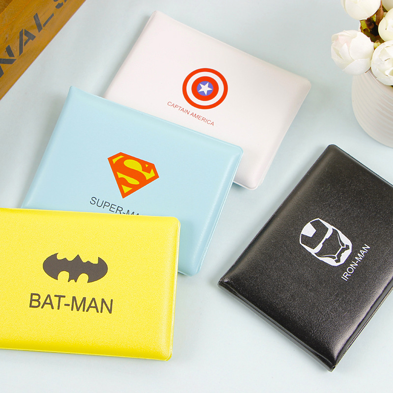Women Men Kids Superhero Cartoon Leather Bag PU Leather On Cover For Car Driving Documents Card Holder Purse Batman Wallet Case
